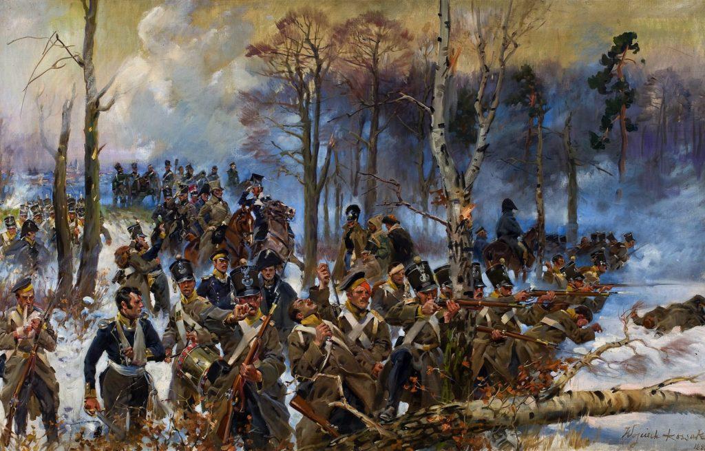 Olejny obraz Wojciecha Kossaka przedstawia bitwę pod Olszynką Grochowską. Żołnierze 4. Pułku Czwartaków odpierają szturm Moskali.