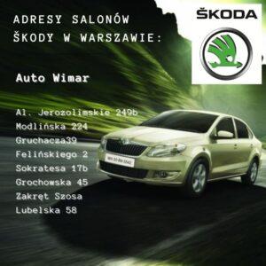 Adresy salonów Auto Wimar dystrybutora Skody w Warszawie